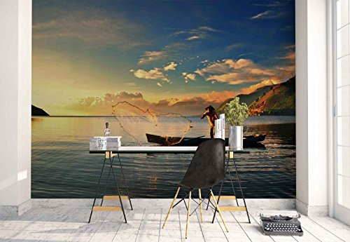 Photo wallpaper wall mural - Fisherman Boat Fishing Lake - Theme Lakes - L - 8ft 4in x 6ft (WxH) - 2 Pieces - Printed on 130gsm Non-Woven Paper - 1X-30585V4