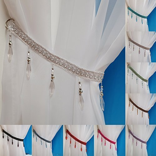 2 X WHITE CLEAR BEADED CURTAIN TIE BACKS TIEBACKS: Amazon