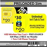 H2o Wireless Sim Card + Preloaded $30 Plan (Free 1st Month)