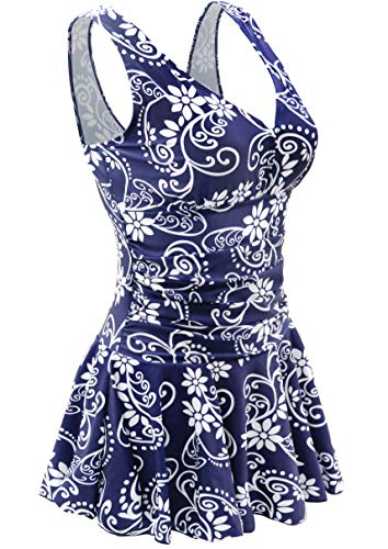 AONTUS Ruffle Swimsuits for Women Plus Size One Piece Swim Dresses Swimsuit