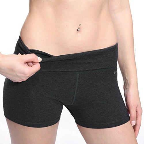 - Baleaf Women's High Waist Athletic Yoga Shorts Running Workout Tennis Shorts Inner Pocket Charcoal Size M