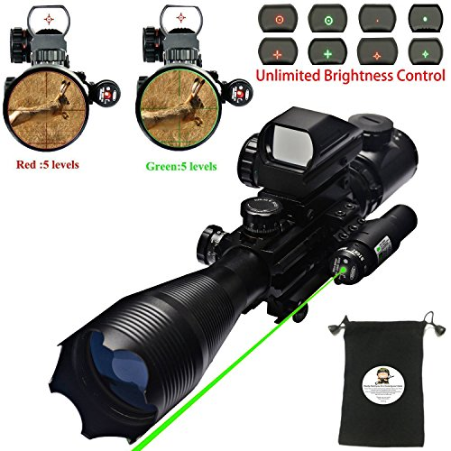 Best Deals! AR15 Tactical Rifle Scope 4-16x50EG with Green Laser and 4 Holographic Red&Green Dot Sig...