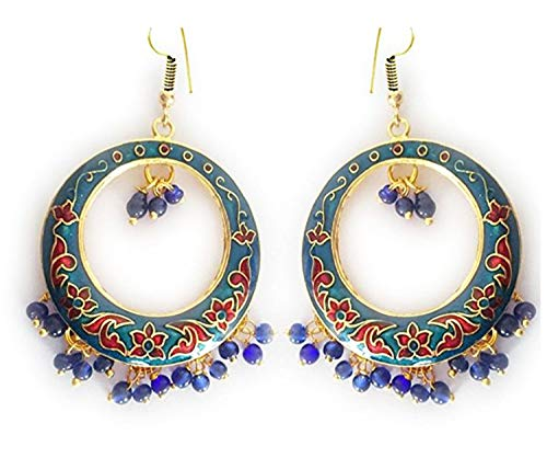 ipur Meenakari Gold-Plated Hand Painted Bali-Jhumki Earrings for Women and Girls (Blue) ()