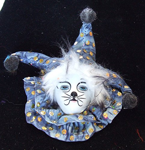 (Jester Cat Face Blue Porcelain Ornament Mardi Gras Hanging Ornament New)