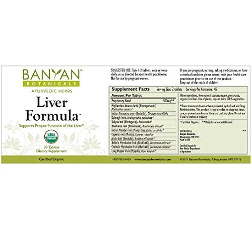 Banyan Botanicals Liver Formula - USDA Organic, 90 tablets - Cleansing Bitter Herbs to Detoxify the Liver & Gallbladder* by Banyan Botanicals (Image #2)