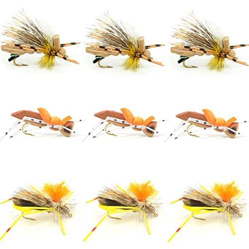(Grasshopper Trout Fly Fishing Flies Assortment Dropper Hopper Foam Body - 9 Flies 3 Patterns Hook Size 10 - Trout Fly Collection)