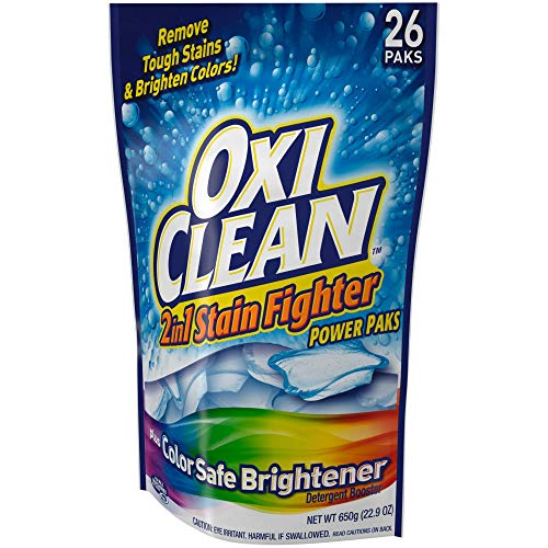 OxiClean 2in1 Stain Remover with Color Safe Brightener Power Paks, 26 Count (Oxy Clean Stain Remover Powder)