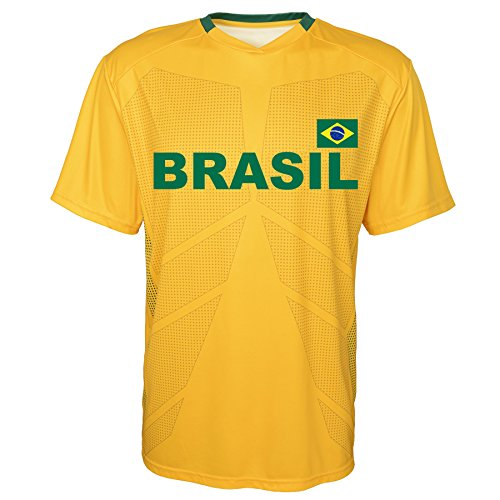 World Cup Soccer Brazil Youth Boys Federation Jersey Short Sleeve Tee, Medium (10-12), Yellow