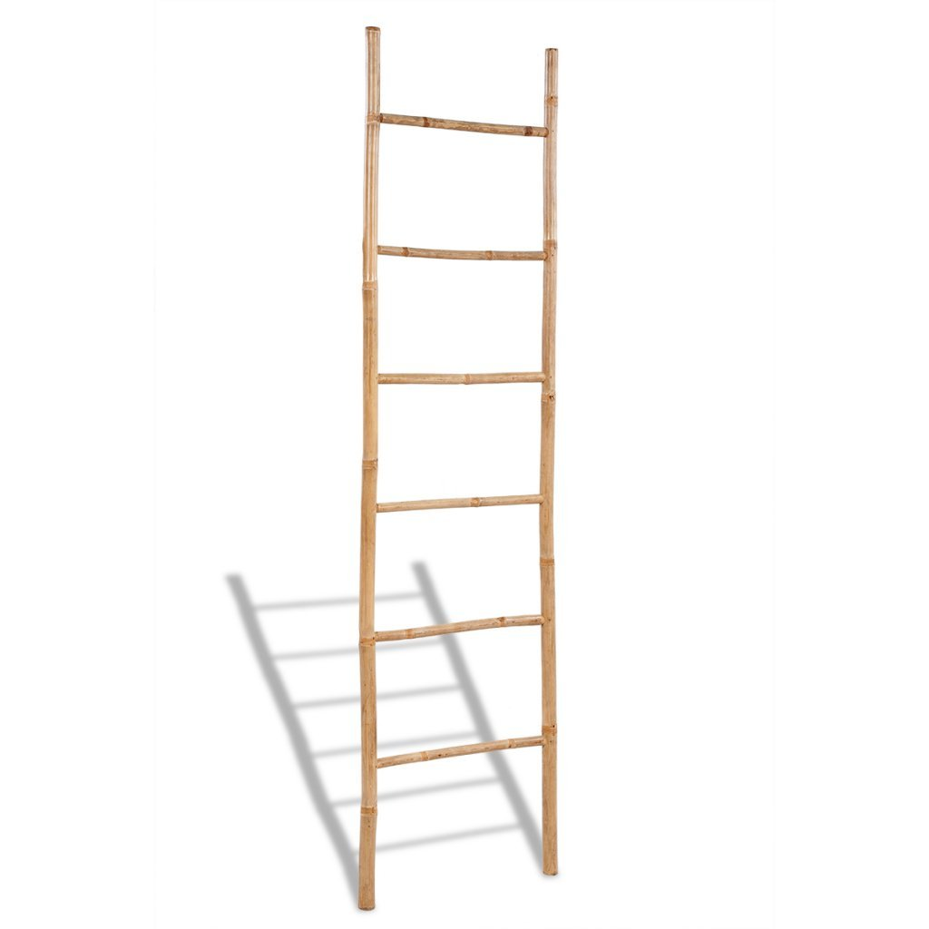 vidaXL Supporto asciugamani a scaletta con 6 gradini in bambù