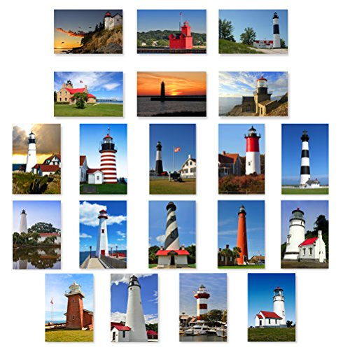 LIGHTHOUSES postcard set of 20 postcards. U.S. lighthouse theme post card variety pack. Made in USA.