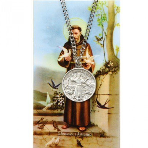 Assisi Medal - Saint Francis of Assisi Pewter Medal Pendant with Prayer Card