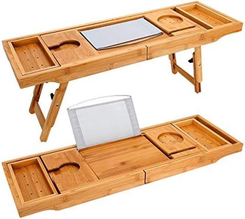 TILEMALL Bathtub Caddy Laptop Built