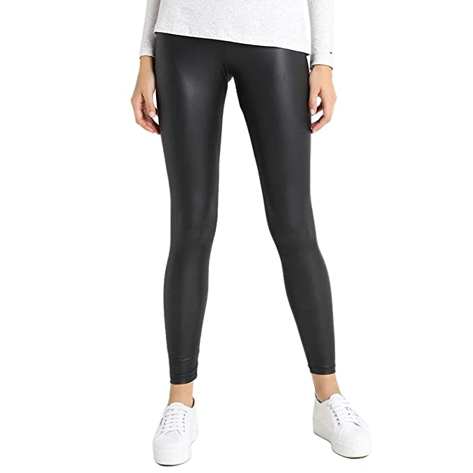 71b410a548dcc5 teemzone Faux Leather Leggings Pants for Women High-Waisted Leggings PU  with Back Pocket Black