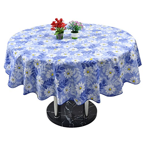 uxcell Daisy Pattern Home Picnics Round Water Resistant Oil-proof Tablecloth Table Cloth Cover 60 Inch Blue