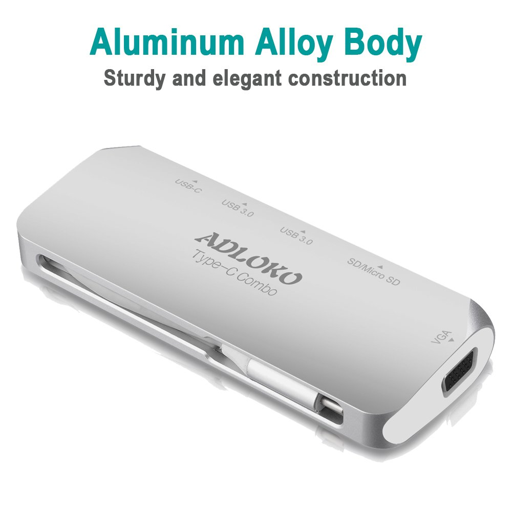 USB Type C Hub VGA, ADLOKO 6-IN-1 USB-C Adapter with VGA Port, USB-C Power Delivery, 2 USB 3.0 Port, SD/TF Card Reader for Macbook Pro 2017, Chromebook and More USB C Device by ADLOKO (Image #6)