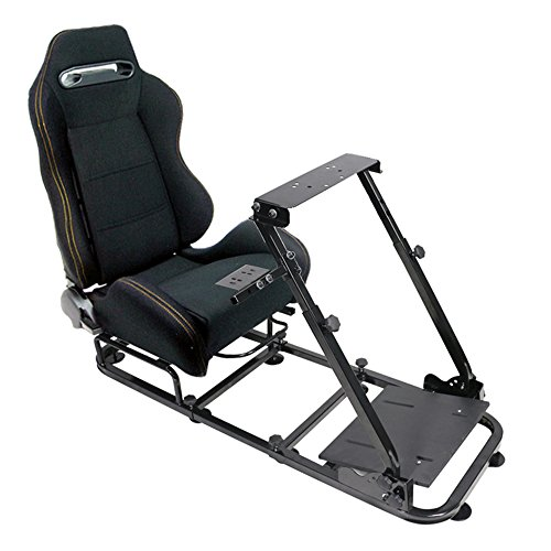 Racing Seat Fits universal | JDM Style Black Cloth With Yellow Stitch Cockpit Driving Simulator Gaming Chair Playseats W/Gear Pedals Mount | by IKON MOTORSPORTS