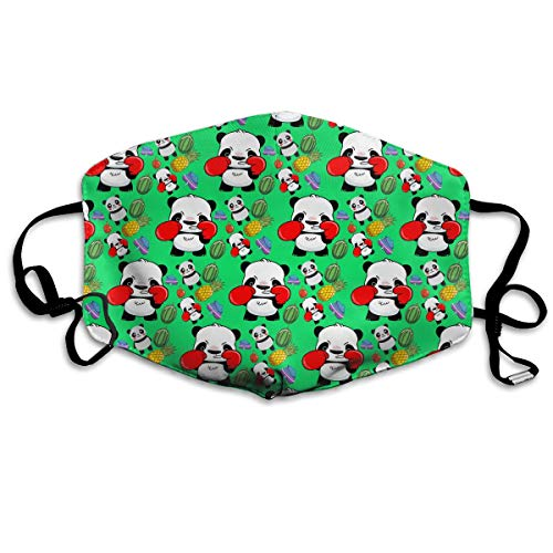 KUYTZDCUTE Panda Boxer Green Mouth Mask Dust Face Mask Washed Reusable Outdoor Activities Windproof 7 X 4.3 Inch.