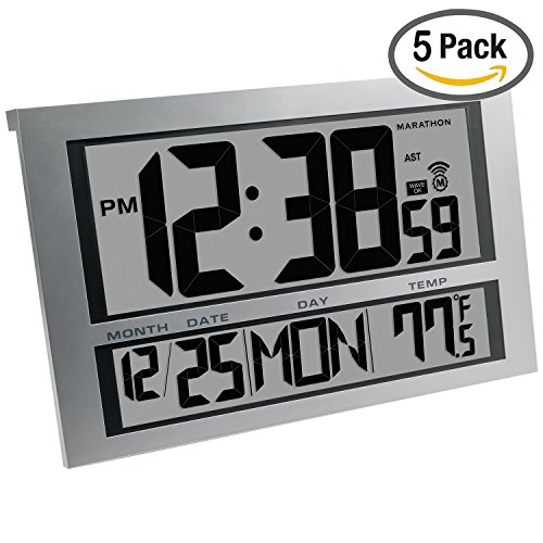 Marathon Cl030025 5 Commercial Grade Jumbo Atomic Wall Clock With 6 Time Zones  Indoor Temperature   Date   5 Pack