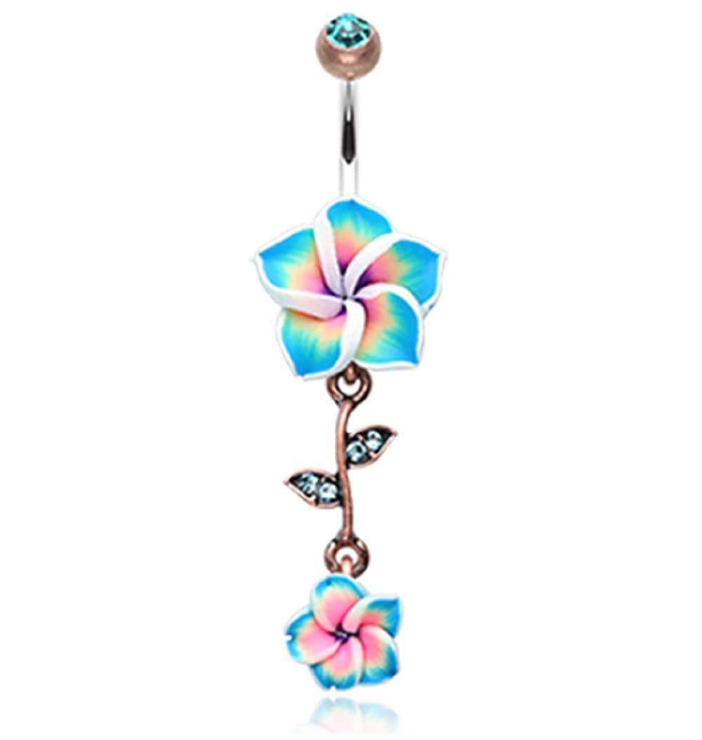 Freedom Fashion Vintage Boho Hawaiian Plumeria 316L Surgical Steel Belly Button Ring Sold Individually