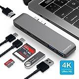 MacBook Pro USB C Hub, AmazeFan 7 in 1 USB C Adapter 40Gbs Thunderbolt, 4k HDMI, Type C Charging Port, SD/TF Card Reader 2 USB 3.0 Ports, Type C Aluminum Multiport Adapter Dongle(Gray)