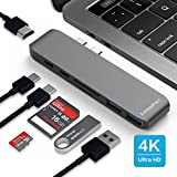 MacBook Pro USB C Hub, AmazeFan 7 in 1 USB C Adapter with 40Gbs Thunderbolt, 4k HDMI, Type C Charging Port, SD/TF Card Reader and 2 USB 3.0 Ports, Type C Aluminum Multiport Adapter Dongle(Gray)