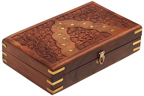 "SouvNear H Wooden Decorative 9.7"" Large Hand Carved Fine Trinket Jewelry Box in Wood with ""Mughal Inspired"" Brass Inlay & Velvet Interior Items for Her, Brown and ()"
