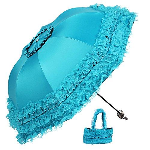 Meiyiu Foldable Rain and Anti-UV Folding Parasol Lace Thirty Percent Sun Umbrella - Louis Galleria At