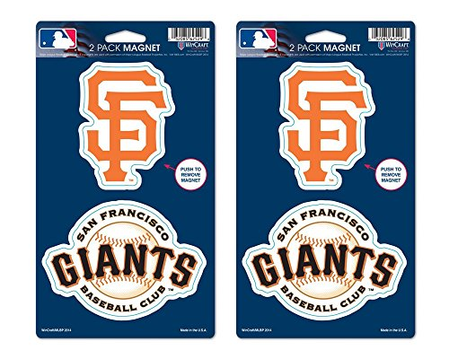 San Francisco Giants Baseball Magnets - Two SF Giants Logos Per Package (2 Packages Included)