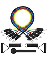 TPR 11PC Resistance Bands Set,10lbs to 50lbs Workout Bands - with Door Anchor Handles and Ankle Straps - Stackable Up