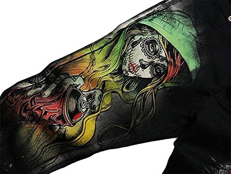 Męskie dżinsy w stylu punk dżinsy denim Hrenjeans Skull czaszka Clubwear Bikerjeans Slim Fit Nr.Y026 Y027 rozm. W28 do W36: Odzież
