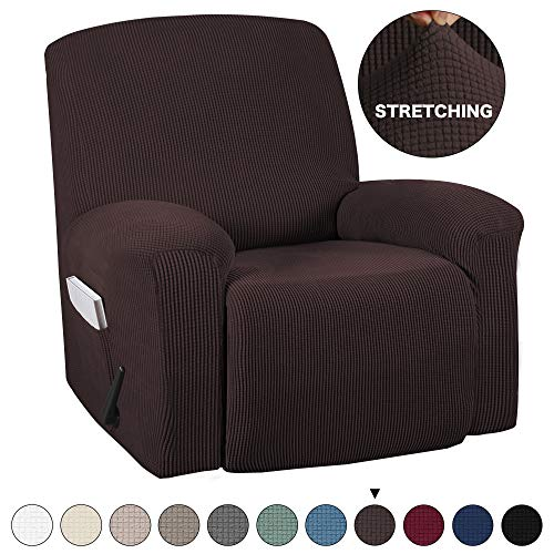 Turquoize Recliner Chair Slipcovers 1-Pieces Furniture Cover for Recliner Chair Cover Jacquard Spandex Chair Cover with Remote Pocket Fit Most Recliner Chair Furniture Slipcovers (Recliner, Brown)