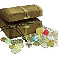 American Coin Treasures Kids Treasure Chest with Replica Pirate Coins/Foreign Coins/Gems/Necklace Coin Jewelry