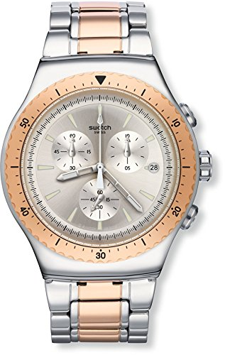 Swatch Men's 'So Biggar' Quartz Stainless Steel Casual Watch, Color:Two Tone (Model: YOS452G)