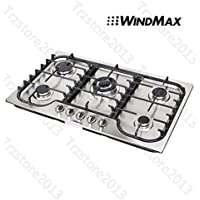 WindMax 34 Kitchen Stainless Steel 5 Burners NG/ LPG Cooktops Cooker#58027