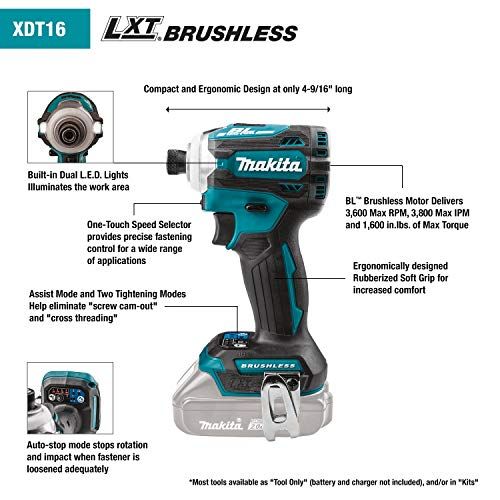 Makita XDT16Z 18V LXT Lithium-Ion Brushless Cordless Quick-Shift Mode 4-Speed Impact Driver, Tool On - http://coolthings.us