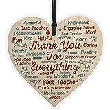 hanging-SIGN Gift For Teacher Teaching Assistant School Nursery Wood Heart Word Art Leaving Present