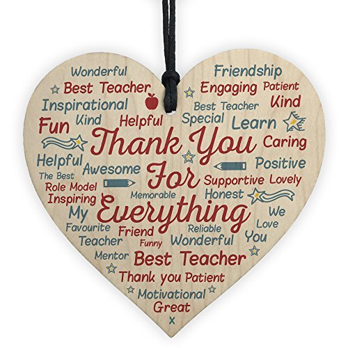 hanging-SIGN Gift For Teacher Teaching Assistant School Nursery Wood Heart Word Art Leaving Present