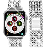 Goton Jewelry Band Compatible with Apple Watch Band 44mm 42mm, Women Rhinestone Beads Link Crystal Bling Stainless Metal Replacement Strap for iWatch Band Series 5 4 3 2 1 (Silver, 44mm 42mm)