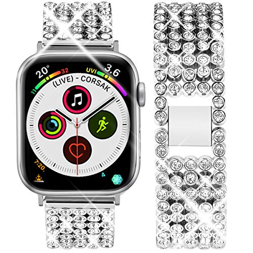 Goton Jewelry Band Compatible with Apple Watch Band 44mm 42mm, Women Rhinestone Beads Link Crystal Bling Stainless Metal Replacement Strap for iWatch Band Series 4 3 2 1 (Silver, 44mm -