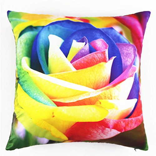 Square Rainbow Art Rose Floral Stuffed Cushion ChezMax Polyester Sateen Peach Stuffing Throw Pillow Insert For Living Room Sofa Couch Chair Back Seat price