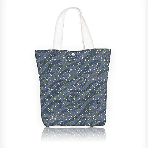 Women's Canvas Tote Bag, many bright stars in the night sky can be used for wallpaper textile Ladies Top-handle Handbags, work school Shoulder Bag W16.5xH14xD7 INCH