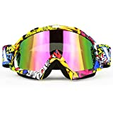 Professtional Dirt Bike Motorcycle Goggles - Motocross MX Goggle Glasses Eyewear Skiing Snowboard Goggles UV Protection and Anti-fog (8 Colors)