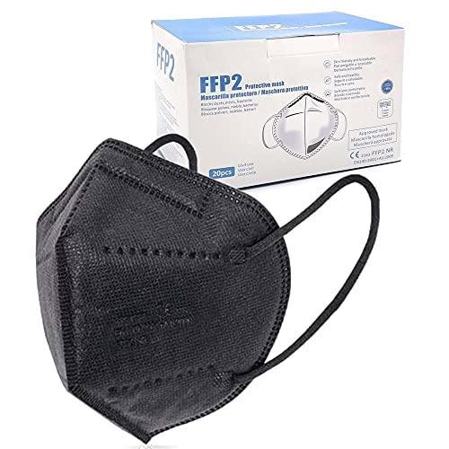 blackpoolal FFP2 CE 2163, Mascarilla de Protección Respiratoria - Protectora Respirador Antipolvo Homologada 5 capas. Alta Eficiencia Filtración BFE de 95% (Negro 20 pcs) a buen precio