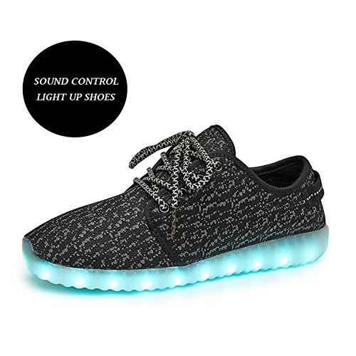 LeoVera Mens & Womens LED Shoes USB Charging Light Up Shoes Flashing Sneakers Black02