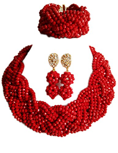 Nigerian Wedding African Beads Crystal Bridal Jewelry Sets (Red) (Trading Company Costume Jewelry)