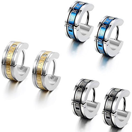 Flongo 6PCS Men's Classic Biker Stainless Steel Engraved Roman Numerals Classic Polished Hoop Hinged Earrings,Ear Stud Huggie Earrings for Men Women by Flongo