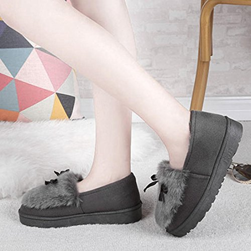 Ladies Ankle Girls Warm Shoes Clode® Flat Winter Slipper Lazy Gray Fashion Booties Boots Boots Snow Womens qSB0tt