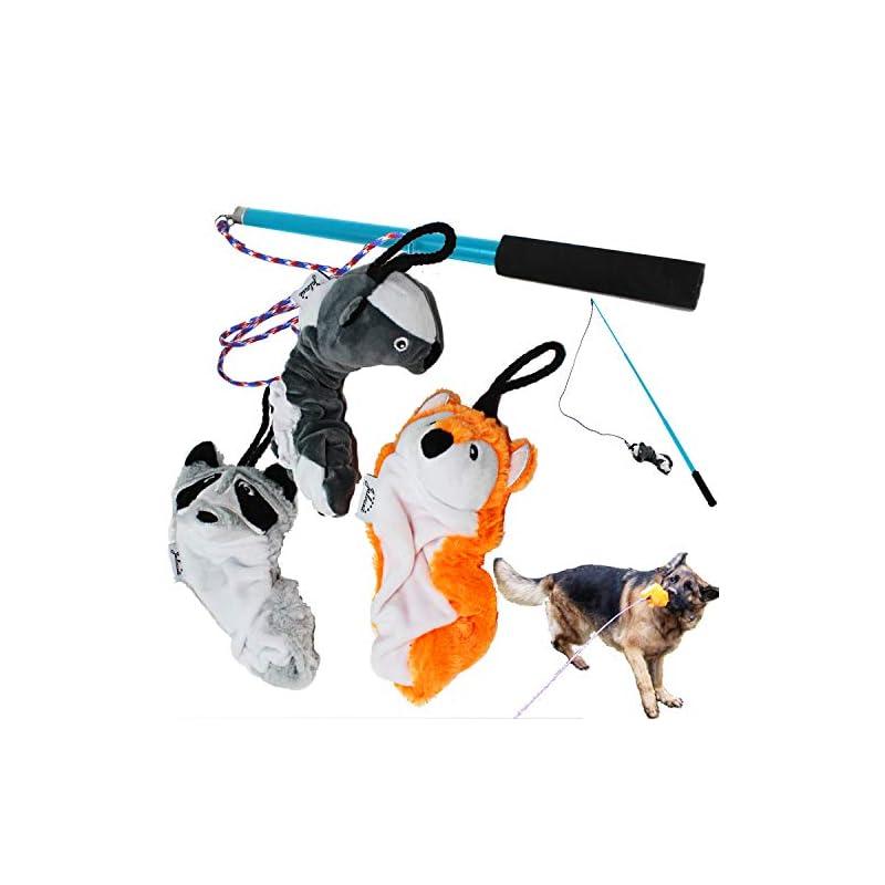 dog supplies online jalousie dog flirt pole with three squeaky toys plush toys dog teaser wand with refills (dog flirt pole w/three toys)