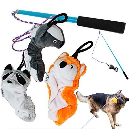 Jalousie Dog Flirt Pole with Three Squeaky Toys Plush Toys Dog Teaser Wand with Refills