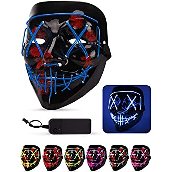 LEEHUR Halloween LED Mask Purge Kids Party Favors Scary Death Skull Costumes Cosplay Makeup for Boys EL Wire Glowing Light up Halloween Party Supplies Red